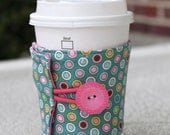 Reusable Coffee Cup Jacket / Cup Sleeve - Penny Lane by Riley Blake Designs - Teal, Pink, and Lime Green Circles