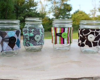 Mason Jar Cozy / Fabric Mason Jar Sleeve - Ball Jar Cozies by CK Stitches - Pint or Quart Jar Wrap - Design Your Own - You Pick the Fabric
