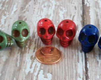 Multi Colored Pairs Skull Stone Beads