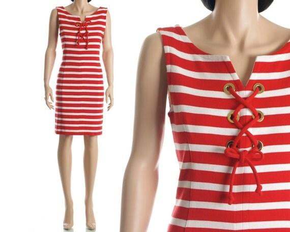 Vintage Adrienne Vittadini Dress - Red White Nautical Sailor Stripe Knit Dress 90s  - S / M