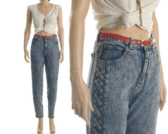 Vintage 80s 90s Jeans - Acid Washed Denim X Lattice Skinny High Waisted Jeans - S / M
