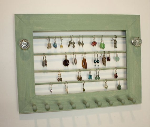 Pale Green Jewelry Holder to Organize Earrings.