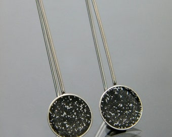 Sparkly Charcoal Resin and Sterling Silver Dangle Dot Earrings