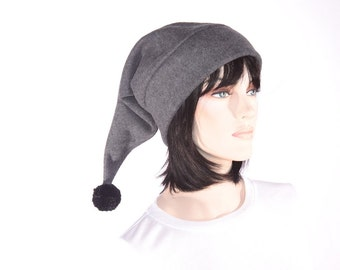 Charcoal Gray Stocking Cap Elf Hat Long Pointed Beanie with Pompom