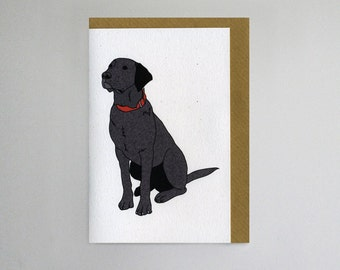 Illustrated Black Labrador Blank Card