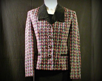Vintage Striking Rainbow Plaid Blazer