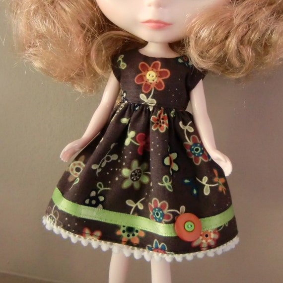 FALL SALE - Colourful Brown and Green Summer Dress for Blythe