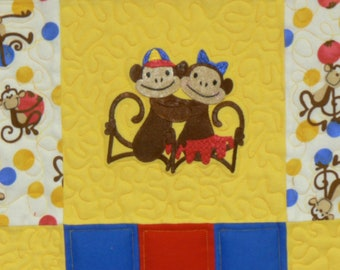 Monkey Business Flannel Baby Quilt*