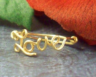 Gold Filled Love Ring, Lovers ring, I love you ring