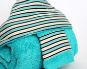 Hooded Bath Towel and Washcloth Set in Turquoise Stripes: for Babies, Toddlers and Preschoolers by SweeterThanSweets - ECO-FRIENDLY