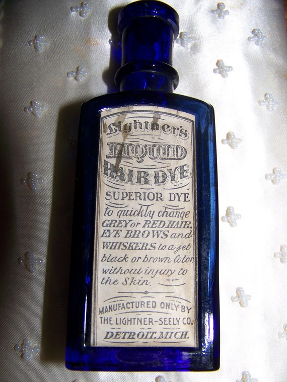 Antique Hair Dye Bottle 1906 Cobalt Blue