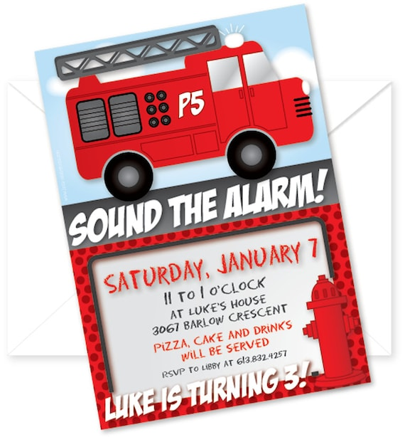 Customized and Printable Fire Truck Birthday Party Invitation