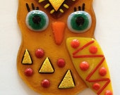 Fused Glass Owl with Hanger - Ms. Green Eye Yellow Wing