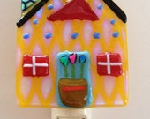 Funny Yellow House Fused Glass Nightlight