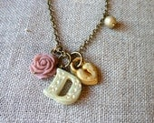 Initial Necklace  Dutch Decor Style Letter Necklace Personalized Jewelry Shabby Chic Lock Initial Jewelry Custom Necklace Mommy Gift Flower