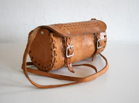 Tooled Leather Round Satchel