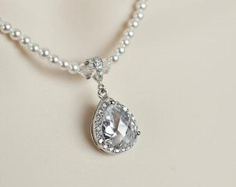 Bridal Necklace, Rhinestone Necklace White/Ivory Swarovski Pearl Necklace With Cubic Zirconia Large Teardrop