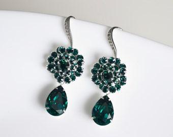 Green Emerald Swarovski Crystal Earrings, Bridesmaids Earrings, White Cubic Zirconia Earwires, Green Emerald Swarovski  Earrings
