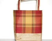 Raspberry Plaid Canvas Burlap Tote Large Bag Pale Yellow Pink Rouge
