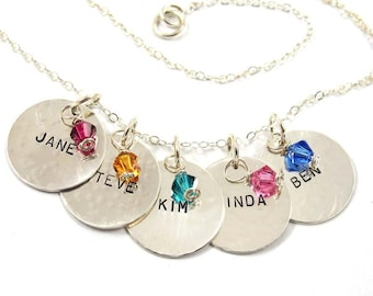 Personalized Necklace 5 Names with Birthstones - Sterling Silver - Free Shipping