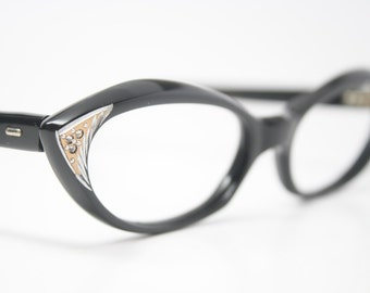 black rhinestone cat eye glasses vintage cateye frames