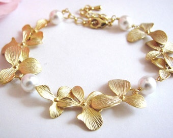 Gold Luxury Bridal Orchid and Pearl Bracelet- romantic elegant bridal jewelry, bridesmaids gift, available in silver.