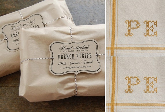 Set of 2 - YELLOW - Personalized French Stripe Towels with hand-stitched initials