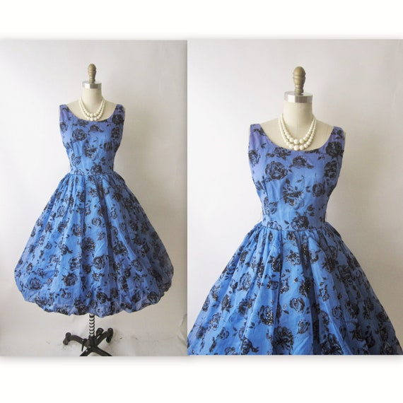 Reserve for Cheryl 50's Flocked Chiffon Dress // Vintage 1950's Flocked Chiffon Roses Full Cocktail Party Prom Dress S