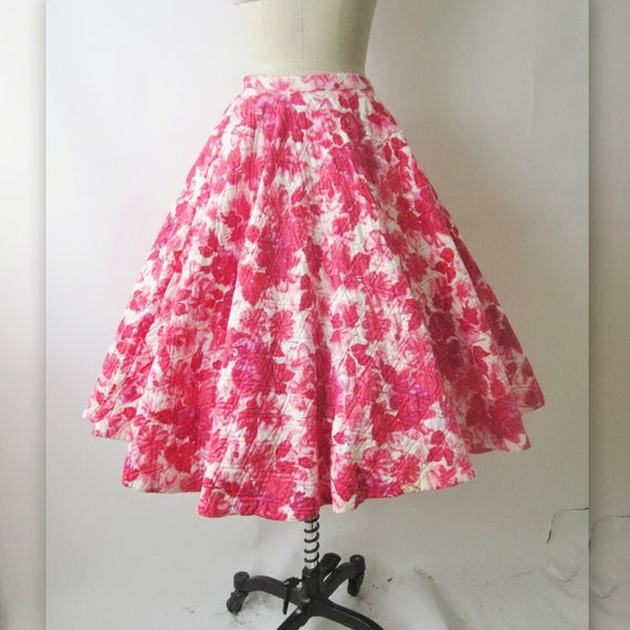 50's Floral Print Skirt //  Vintage 1950's Floral Print Cotton Full Circle Garden Party Skirt S
