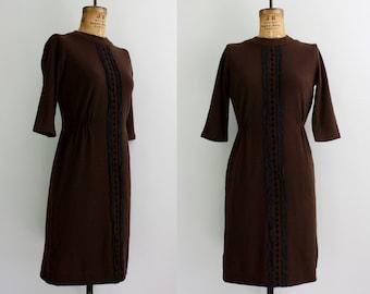 1960s brown dress / 60s dress / wool sheath small medium