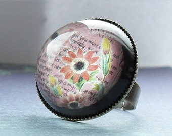 Vintage Postcard: Pink and Yellow Flowers Ring