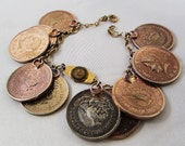 Sale Durocharm  Coin Bracelet, University of Missouri Seal, Vintage Charm, 1940s Vintage Coin Bracelet 12k Gold Filled