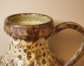 AWESOME Large midCentury Modern Italian Pottery Urn or Ewer Vase with AMAZING Fat Lava Glaze eames Era