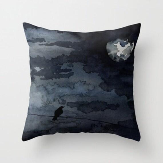 Decorative Pillow Cover - Moonlit Raven - Throw Pillow Cushion - Fine Art Home Decor