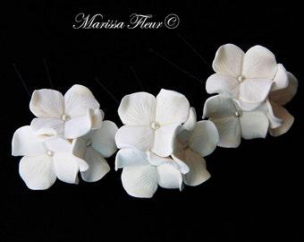 Bridal Hair Pins, Set Of 3 Hydrangea Hair Pins, Trio Hair Pins Decorated With Pearls, Wedding Hair Pins, Bridal Hair Accessories, Wedding