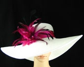 Kentucky Derby Hat with handmade Pink Feather Flowers, White Wide Brim Hat ,Wedding Hat,Tea Party ,Ascot Horse Racing