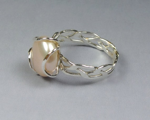 Braided Ring with Coin Pearl, Sterling Silver