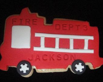 One Dozen Fire Truck Cookies
