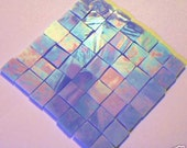 100 Light Blue  iridescent  Mosaic stained glass tiles 1/2 inch handcut tile