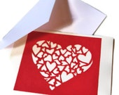 Heart of Hearts Valentine Original Hand Carved Design in Red and White Holiday Card