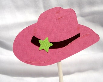 Cupcake Toppers Pink Cowgirl Hats Set of 18