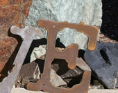 Rustic Metal Letters recycled steel 6 inch tall Recycled Steel Custom Letters