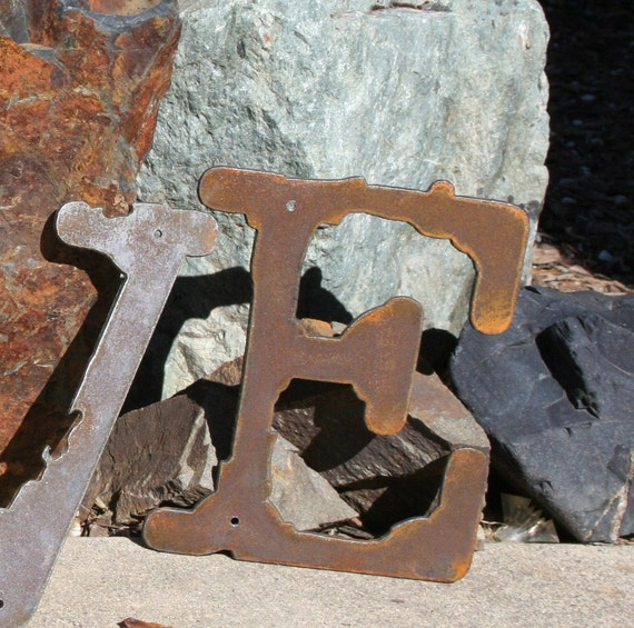 Tall Metal Letters Rustic Metal Letters Recycled Steel 6 Inch Tall Recycled Steel