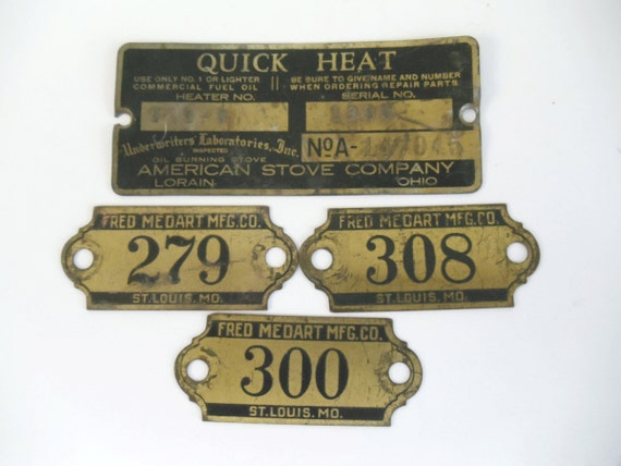 Vintage Metal Brass Tags - Numbers - Advertising - Black and Antique Brass - Altered Art/Jewelry, Assemblage, Mixed Media