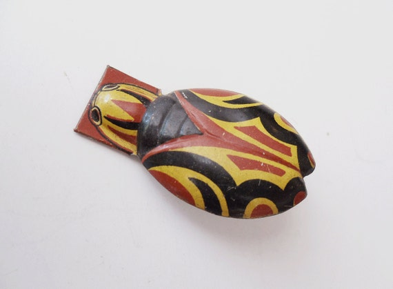 Vintage HALLOWEEN Clicker Noise Maker Bug - Lithograph Red, Black and Yellow