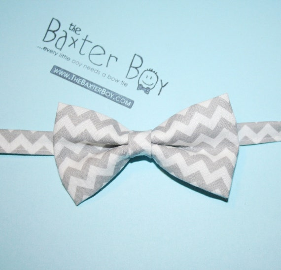 Grey chevron bow tie, little boy bow tie - photo prop, wedding, ring bearer, accessory
