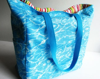Large Cotton Tote, Swimming Pool Blue