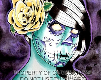 5x7, 8x10, or apprx 11x14 in Signed Art Print Day of the Dead Sugar Skull Pin Up Tattoo Flash - Infested - Dark Lowbrow Tattoo Art
