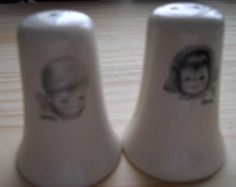 Handpainted boy and girl salt and pepper shakers - vintage, collectible