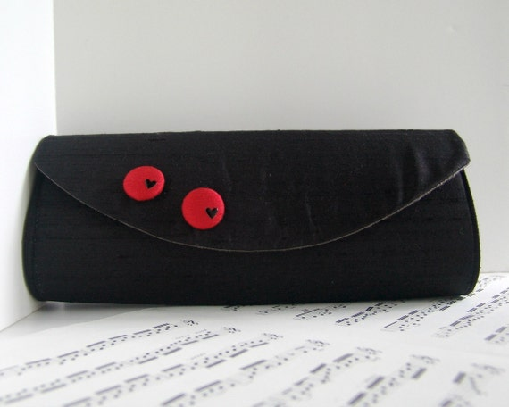 Silk black clutch with red fabric buttons, Black clutch bag